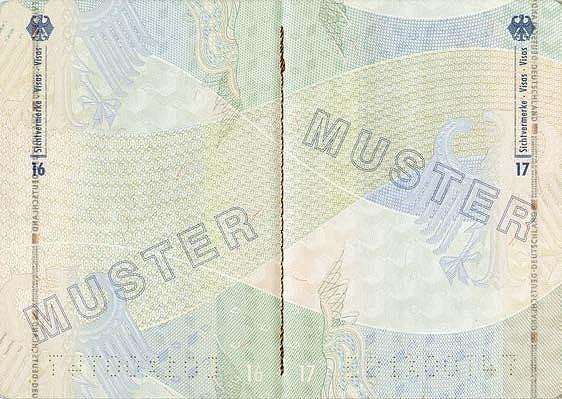 صفحه های داخلی پاسپورت آلمان