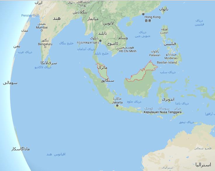 مالزی بر روی نقشه