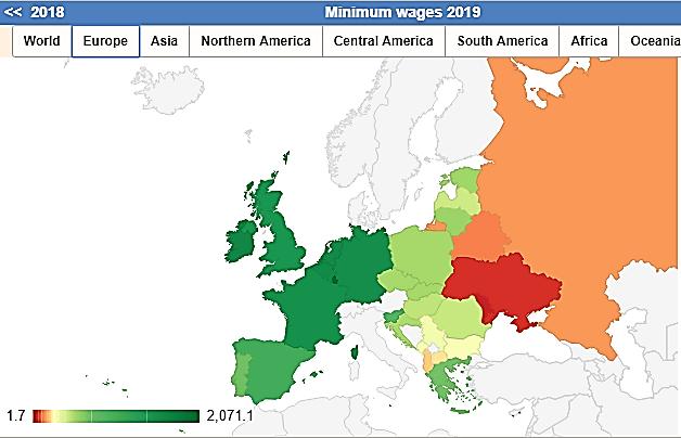 نقشه حداقل حقوق نیروی کار در اروپا