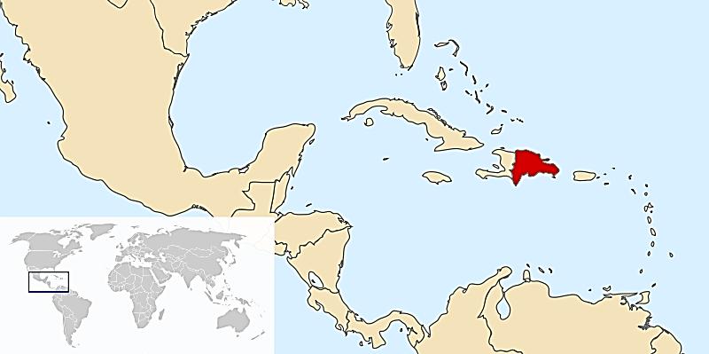 جمهوری دومنیکن بر روی نقشه