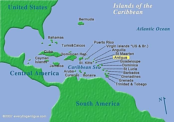 آنتیگوا و بارمودا بر روی نقشه