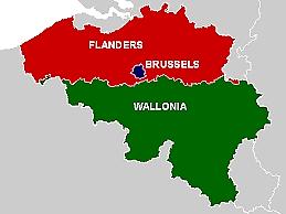 نقشه بحش های فلندرز و والونیا در بلژیک