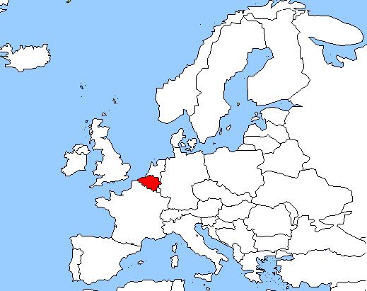 نقشه بلژیک در قاره اروپا
