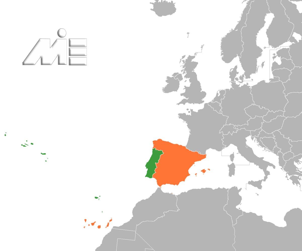 پرتغال بر روی نقشه