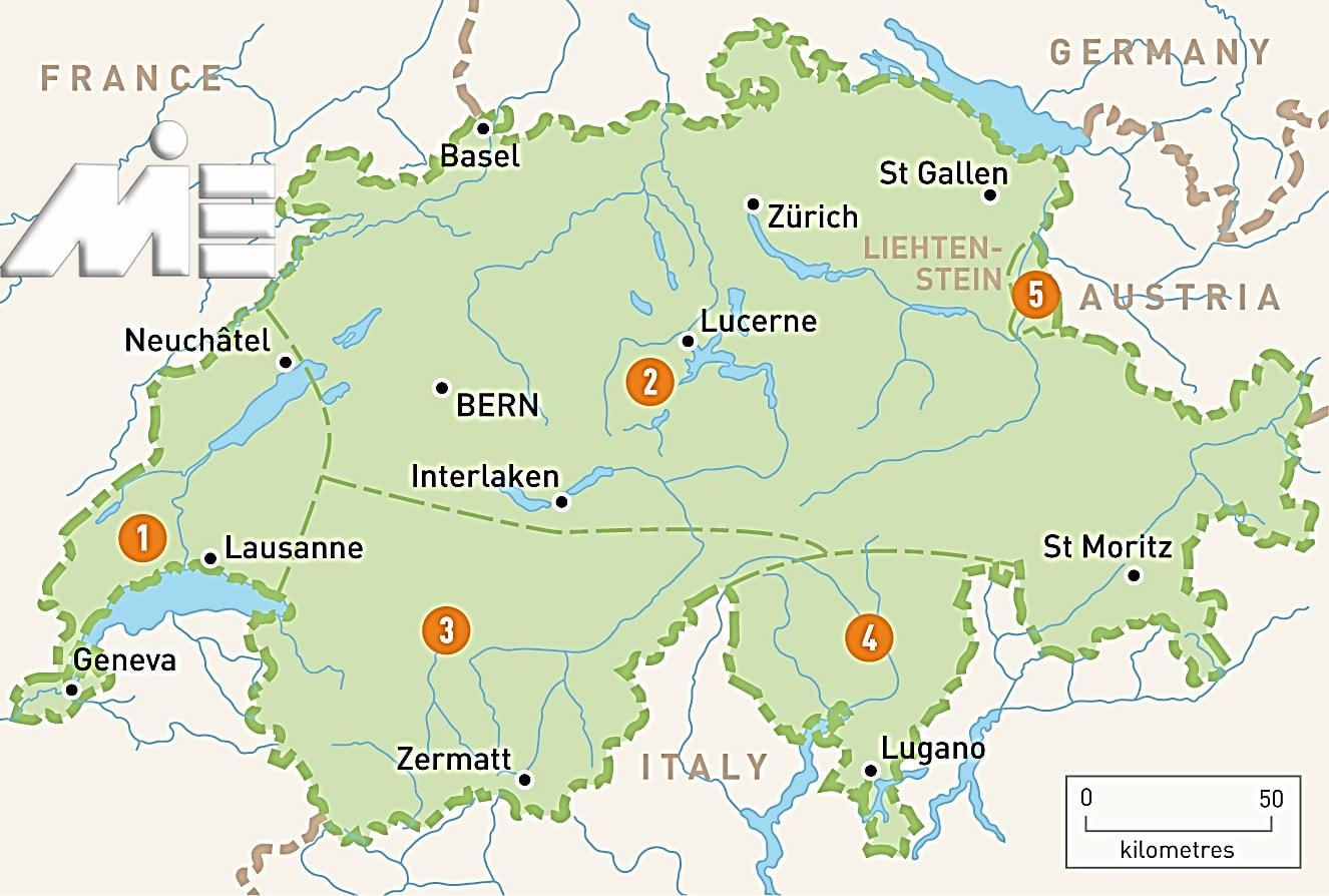 نقشه سوئیس ـ سوئیس بر روی نقشه