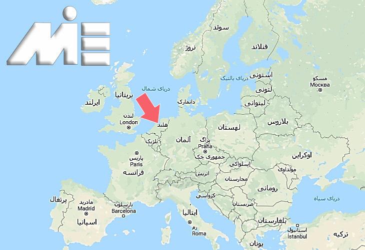 هلند بر روی نقشه ـ کشور هلند