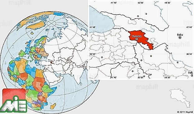 ارمنستان بر روی نقشه ـ مهاجرت به ارمنستان