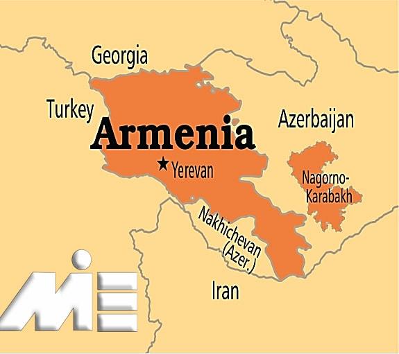 ارمنستان بر روی نقشه