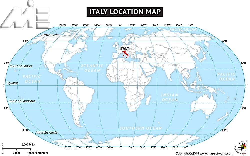 ایتالیا بر روی نقشه کره زمین