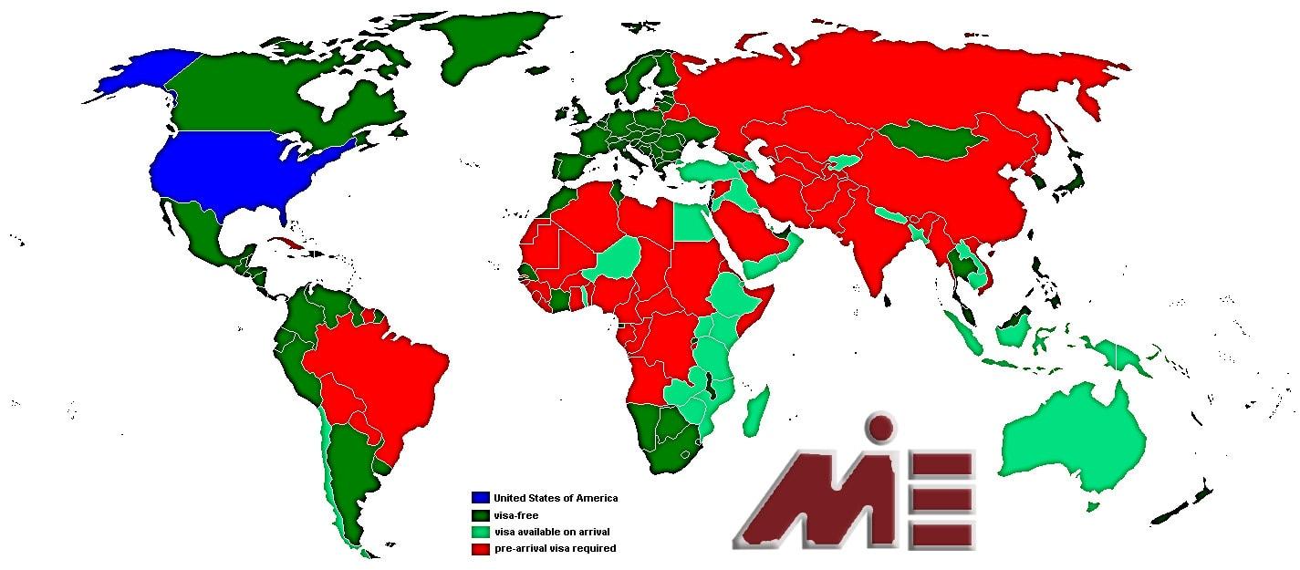 نقشه آزادی سفر برای دارندگان پاسپورت آمریکایی