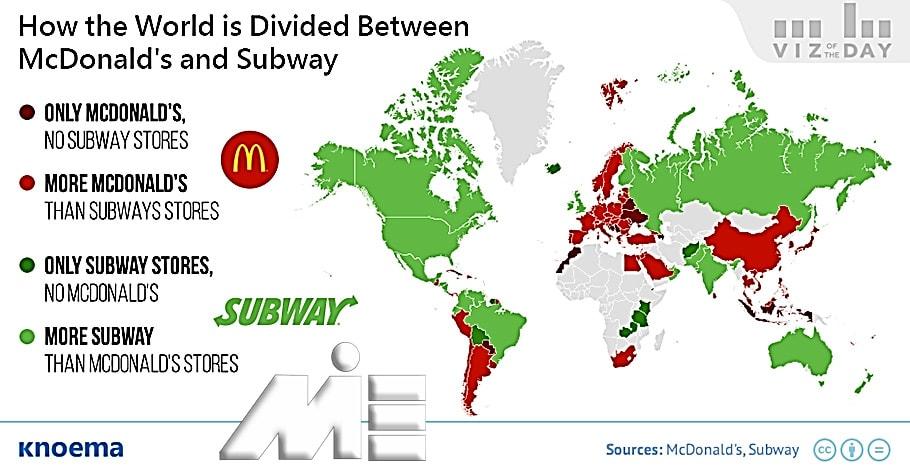 تفاوت سیطره مک دونالد و subway در جهان