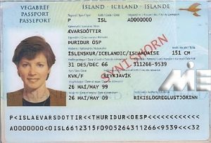 صفحه اطلاعات و امضا پاسپورت ایسلند از 1 ژوئن 1999