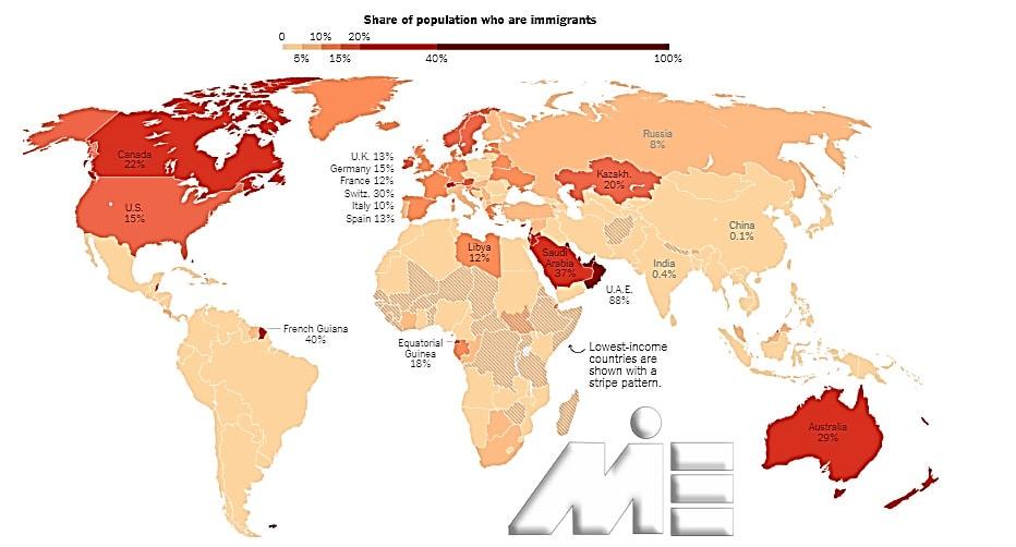نقشه درصد جمعیت کشورهای جهان، بر اساس تعداد مهاجرین