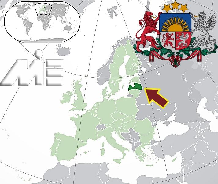 لتونی بر روی نقشه ـ مهاجرت به لتونی - اقامت لاتویا