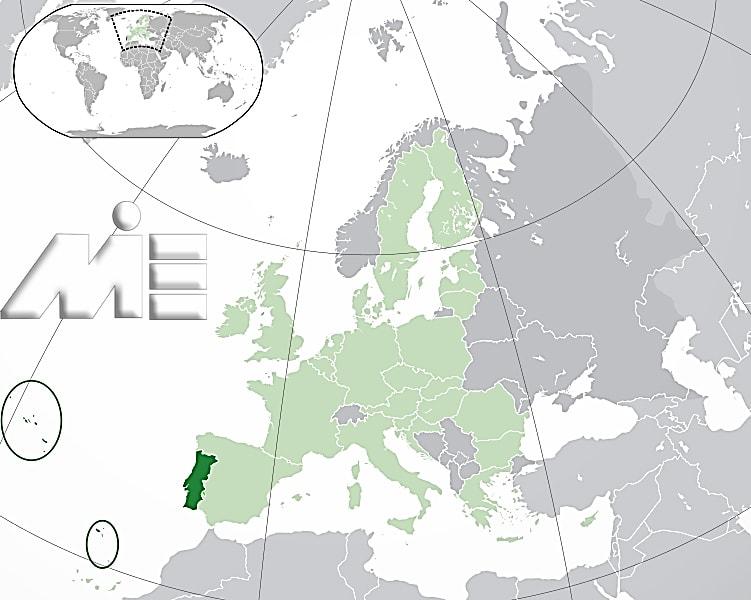 پرتغال بر روی نقشه کره زمین