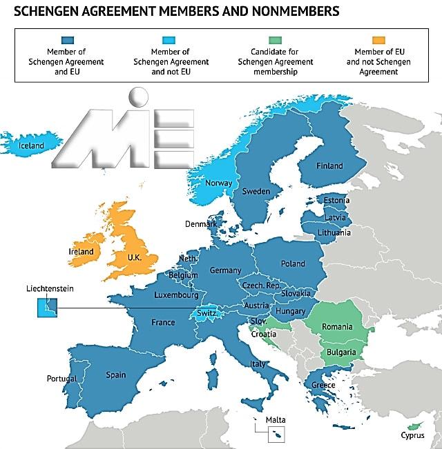 نقشه حوزه شنگن و اتحادیه اروپا