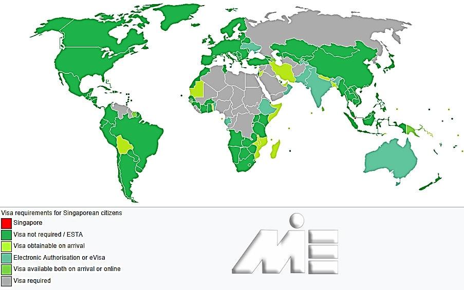نقشه آزادی سفر برای دارندگان پاسپورت سنگاپور