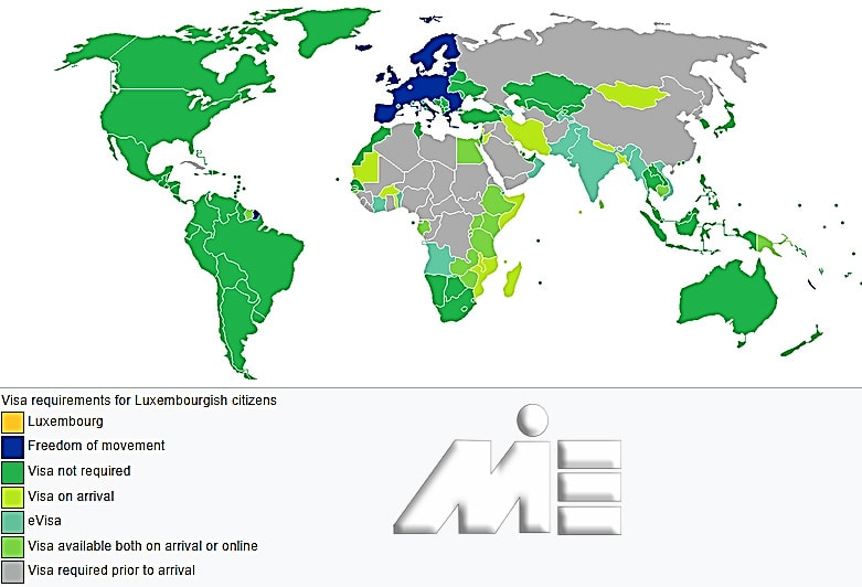 نقشه آزادی سفر برای دارندگان پاسپورت لوکزامبورگ