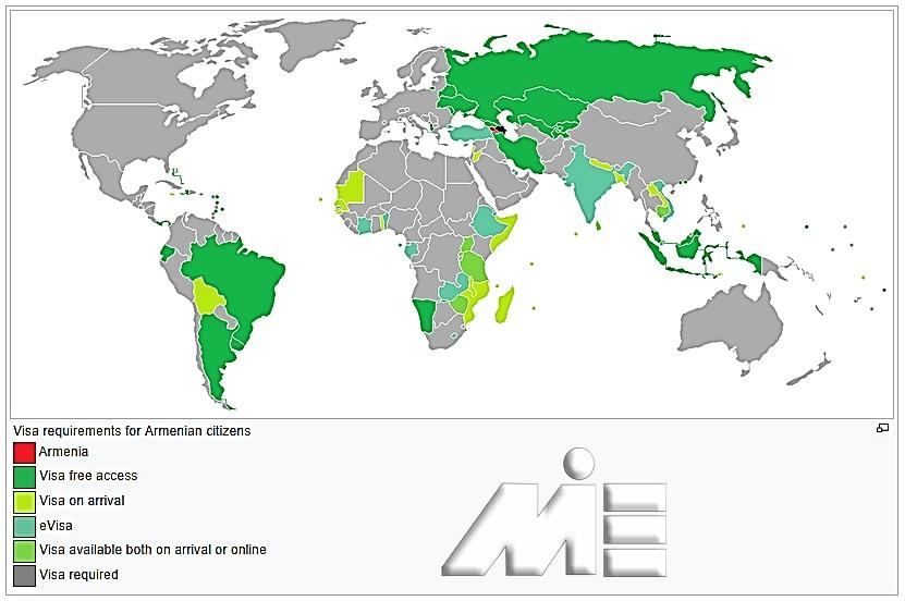 نقشه آزادی سفر برای دارندگان پاسپورت ارمنستان