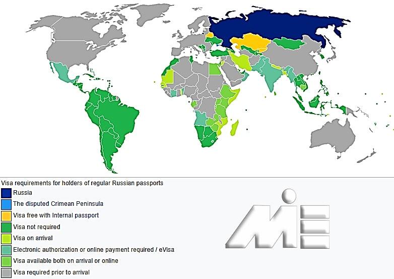 نقشه آزادی سفر برای دارندگان پاسپورت روسیه