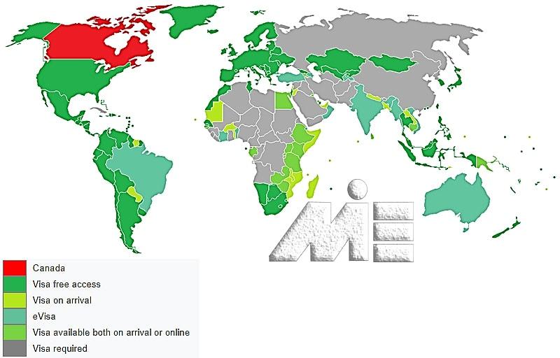 نقشه آزادی سفر برای دارندگان پاسپورت کانادا