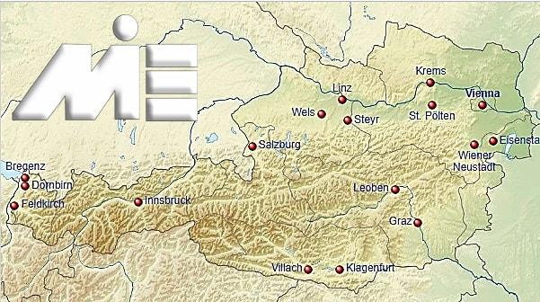 نقشه جغرافیای طبیعی اتریش به همراه شهر های آن