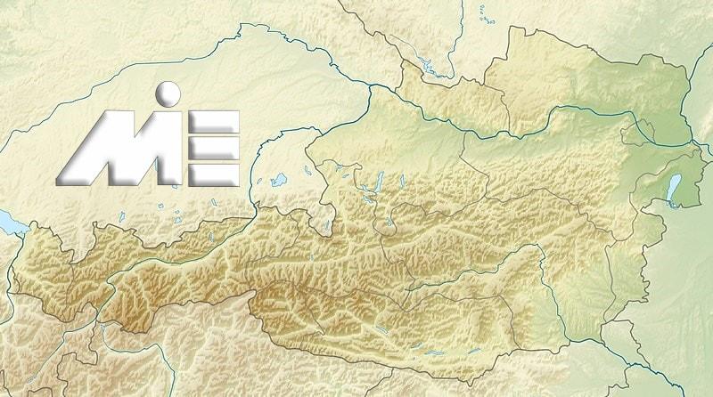 نقشه جغرافیای طبیعی اتریش