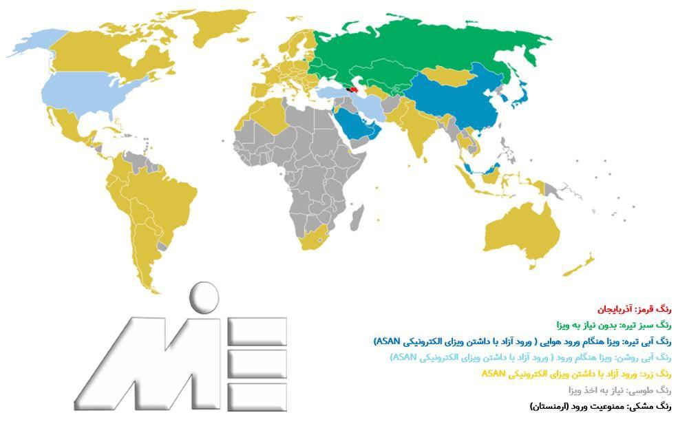 نقشه آزادی سفر برای دارندگان پاسپورت آذربایجان