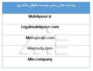 جدول معرفی وبسایت های رسمی موسسه حقوقی ملک پور