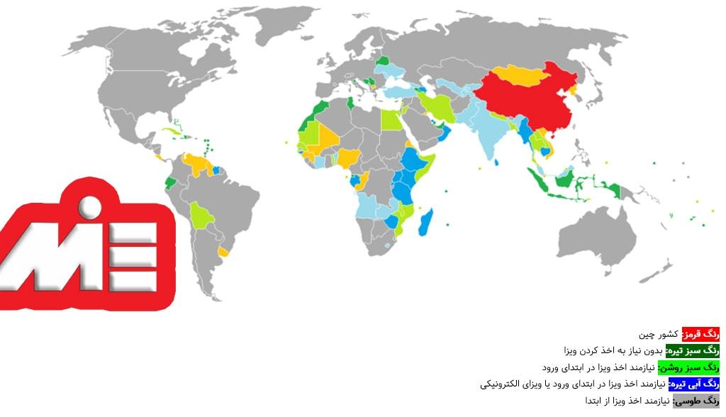 نمودار نقشه آزادی سفر برای دارندگان پاسپورت چین