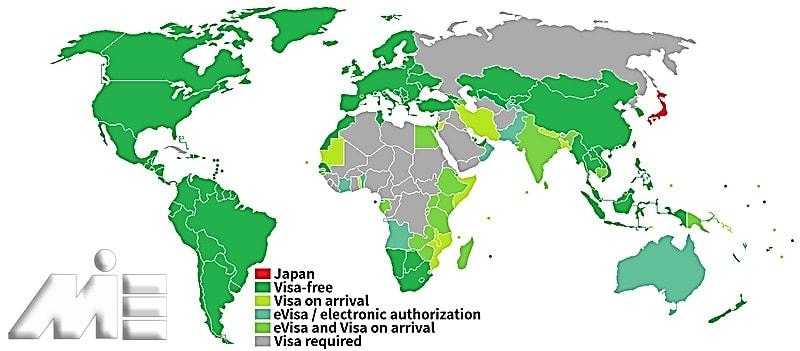نقشه آزادی سفر برای دارندگان پاسپوت ژاپن