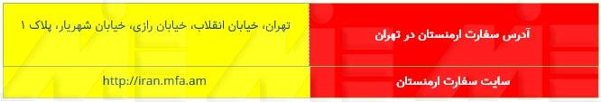 جدول راههای ارتباطی با سفارت ارمنستان در تهران