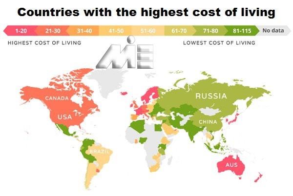 نقشه هزینه های زندگی در تمام کشور های جهان