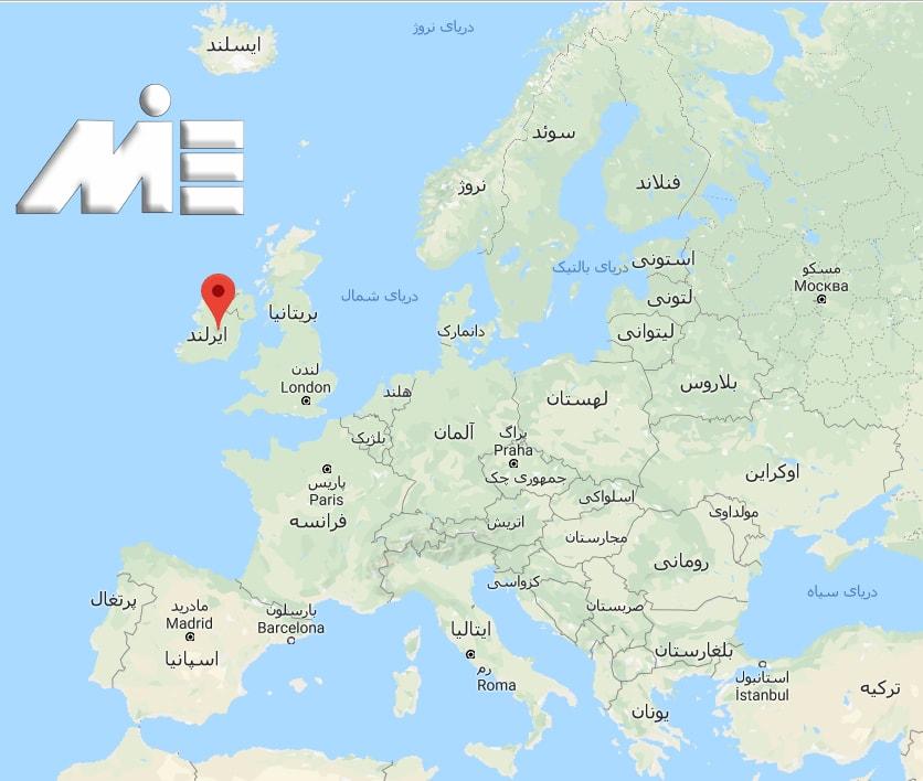 ایرلند کجاست؟ ـ ایرلند بر روی نقشه
