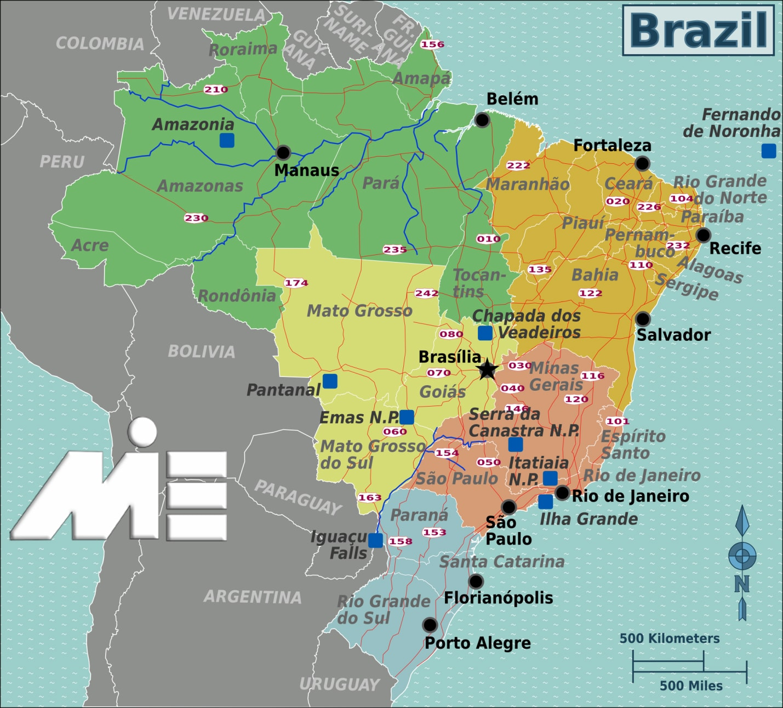 نقشه برزیل ـ برزیل کجاست؟ ـ برزیل بر روی نقشه
