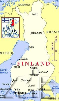 کشور فنلاند بر روی نقشه ـ نقشه فنلاند