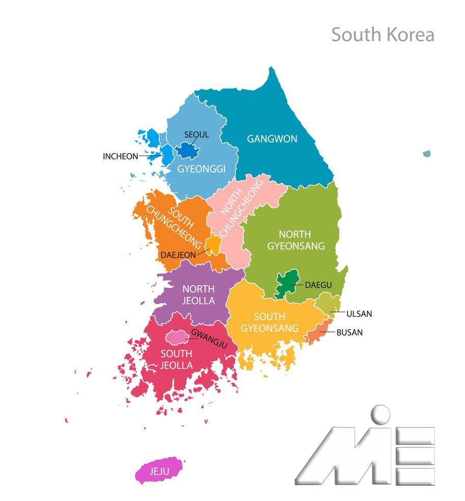 نقشه کره جنوبی ـ استانهای کره جنوبی ـ تقسیمات کشوری کره جنوبی