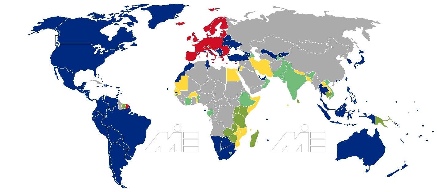 نقشه آزادی سفر برای دارندگان پاسپورت لیختن اشتاین