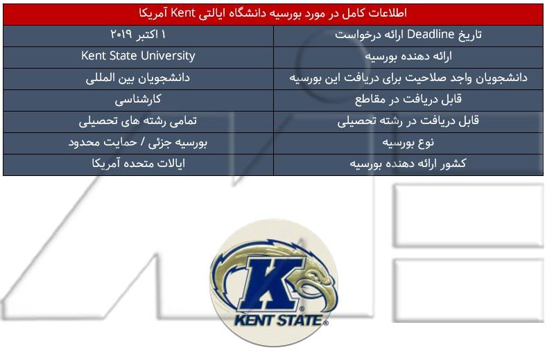 جدول اطلاعات کامل در مورد بورسیه دانشگاه ایالتی Kent آمریکا
