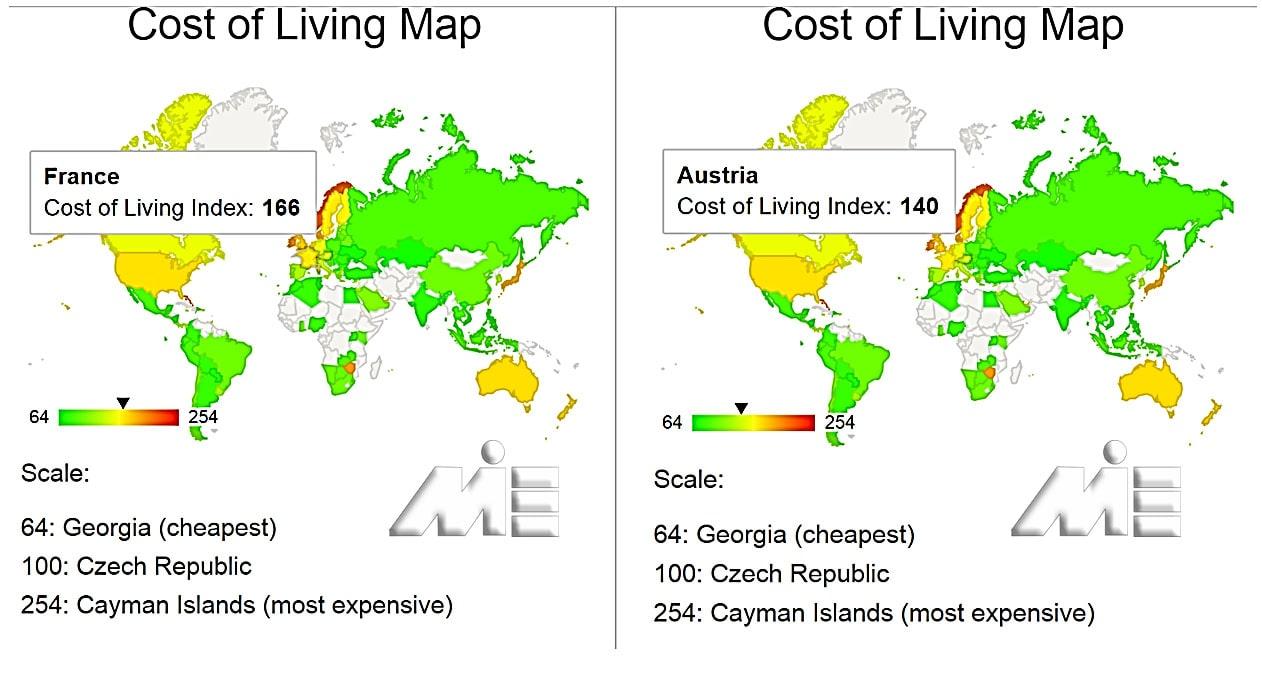 نقشه هزینه زندگی برای کشور های فرانسه و اتریش