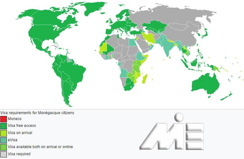 نقشه آزادی سفر برای دارندگان پاسپورت موناکو