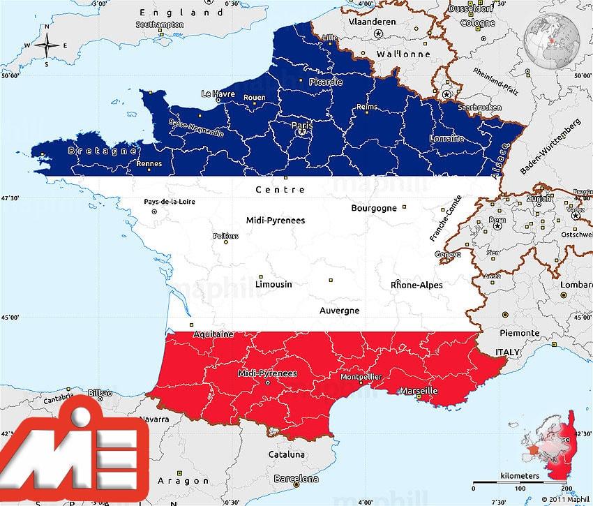 مهاجرت به فرانسه ـ اخذ پاسپورت فرانسه ـ نقشه فرانسه ـ پرچم فرانسه