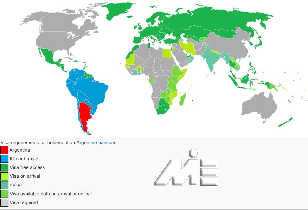 نقشه آزادی سفر برای دارندگان پاسپورت آرژانتین