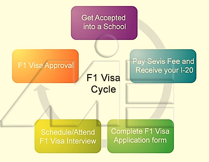 فلوچارت پروسه اخذ ویزای دانشجویی آمریکا از نوع F-1