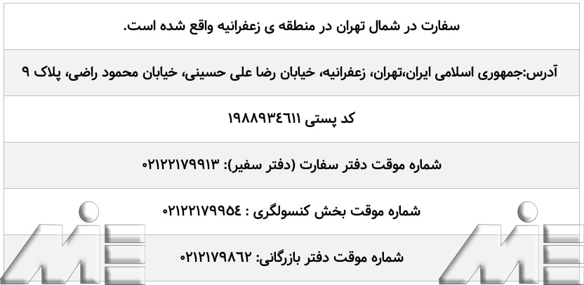 اطلاعات سفارت قبرس ـ آدرس سفارت قبرس ـ شماره تلفن سفارت قبرس