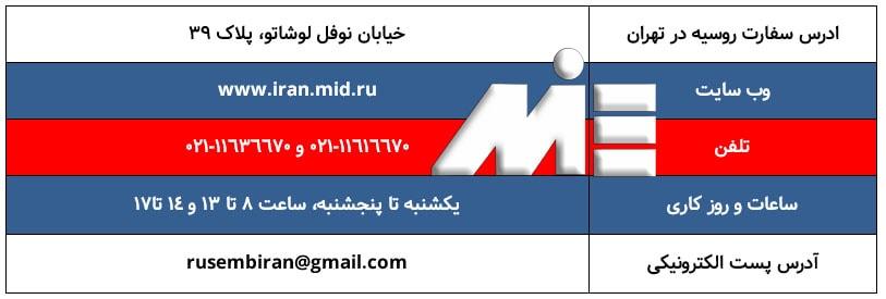 ادرس و اطلاعات سفارت روسیه در تهران