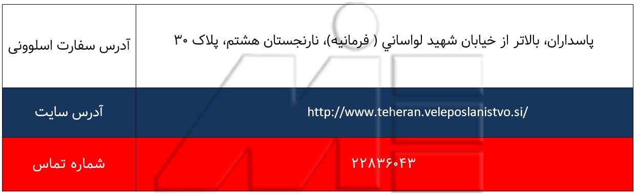آدرس و اطلاعات سفارت اسلوونی در تهران