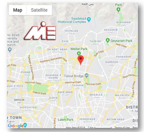آدرس سفارت امارات در تهران بر روی نقشه