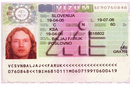 نمونه ویزای اسلوونی