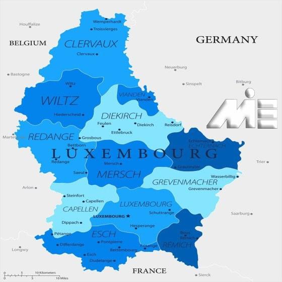 نقشه لوکزامبورگ ـ مهاجرت به لوکزامبورگ ـ ویزای لوکزامبورگ